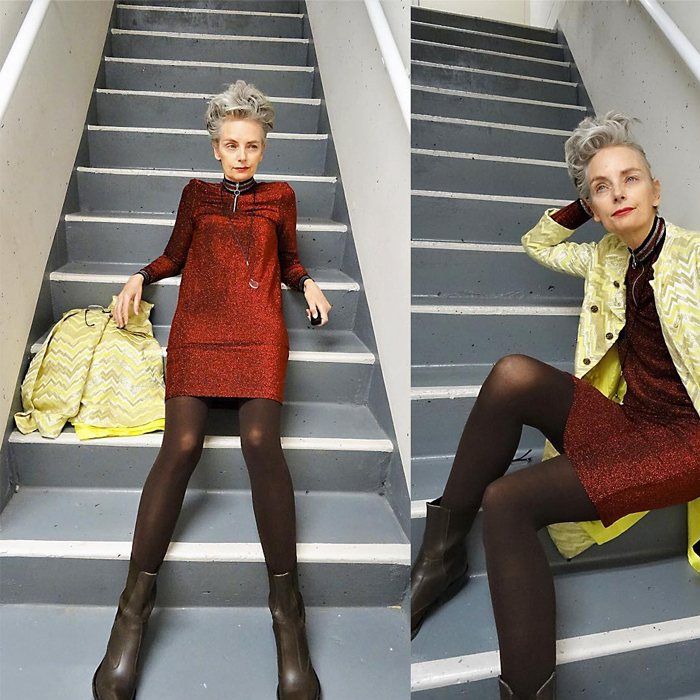 Melanie is wearing Mini Lurex Dress over yellow Lurex dress and chocolate brown boots   fashion over 40   40plusstyle