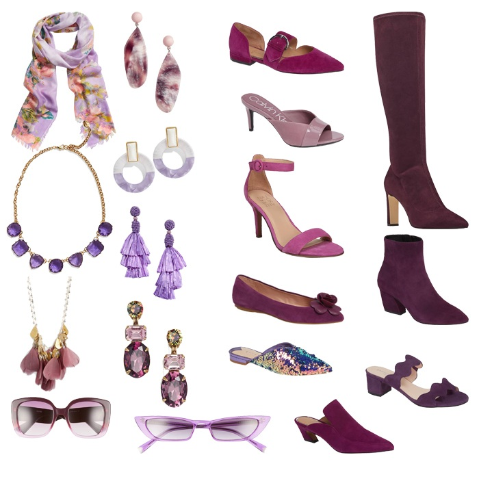 Stylish purple shoes and accessories | 40plusstyle.com