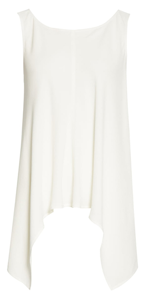 longer asymmetrical top to hide belly | 40plusstyle.com