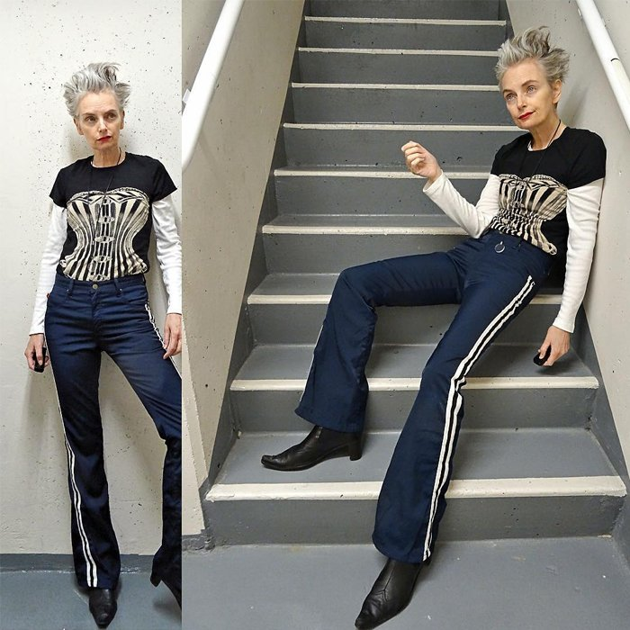 Melanie is wearing black corsette tshirt and wide leg pants with black pointed boots   fashion over 40   40plusstyle