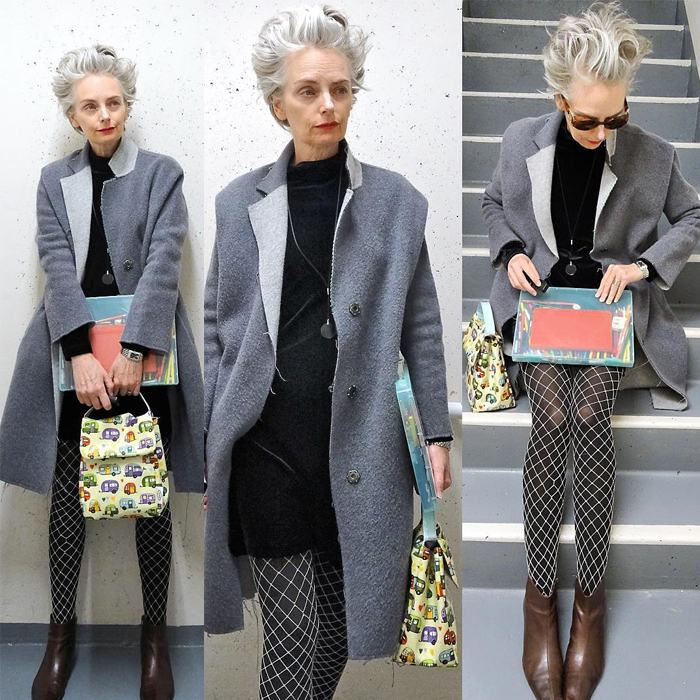 Melanie is wearing black mini dress over gray long coat and fishnet tights and chocolate brown ankle boots   fashion over 40   40plusstyle
