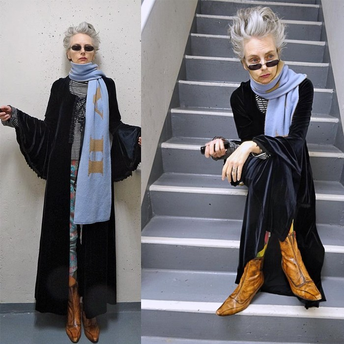 Melanie is wearing black vintage velour duster with bell sleeves , blue scarf and boots | fashion over 40 | 40plusstyle