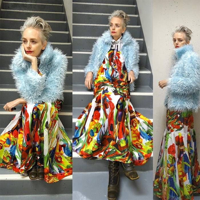 Melanie is wearing colorful maxidress over powder blue furfaux coat and boots   fashion over 40   40plusstyle