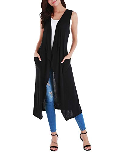 Long black sleeveless vest styles for women over 40 | 40plusstyle.com