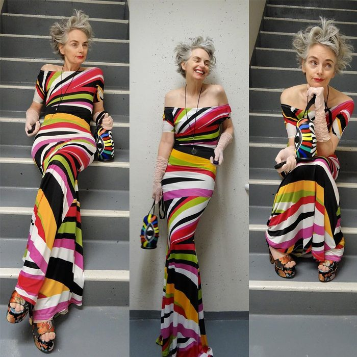 Melanie is wearing off shoulder colorful striped maxi dress,vintage gloves and floral sandals | fashion over 40 | 40plusstyle