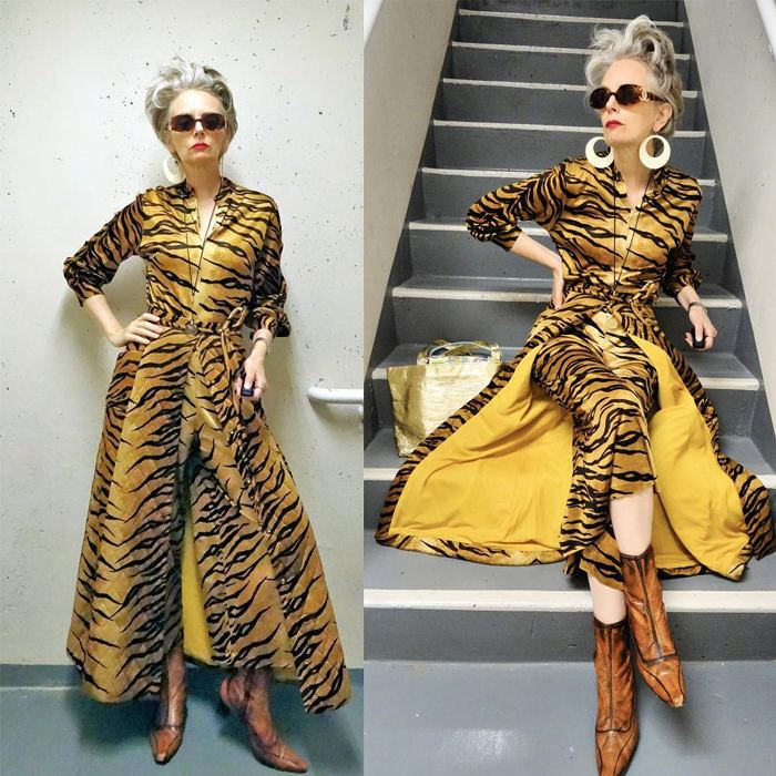 Melanie is wearing vintage tiger jumpsuit with matching quilted skirt and boots | fashion over 40 | 40plusstyle