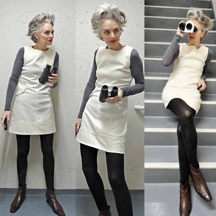Melanie is wearing gray sweatshirt over white mini dress and chocolate brown boots   fashion over 40   40plusstyle