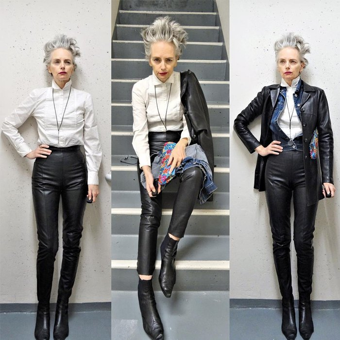 Melanie is wearing white long sleeves over black leather jacket and leather trousers with black pointed boots   fashion over 40   40plusstyle