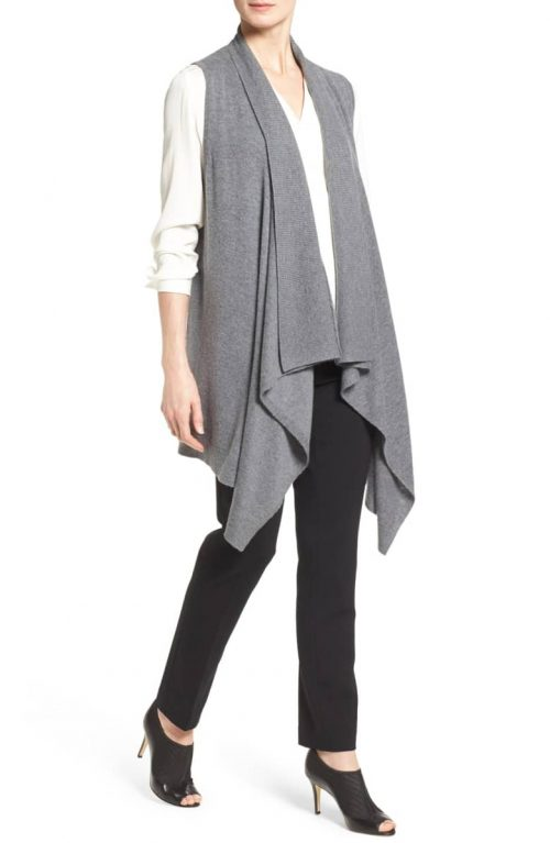 wearing a long vest for women over 40 | 40plusstyle.com