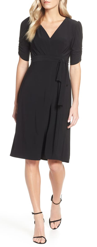 Ruched sleeve wrap dress   40plusstyle.com