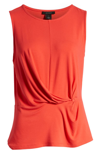 orange sleeveless top | 40plusstyle.com
