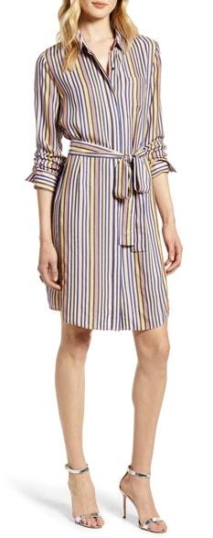 Stripe shirtdress | 40plusstyle.com