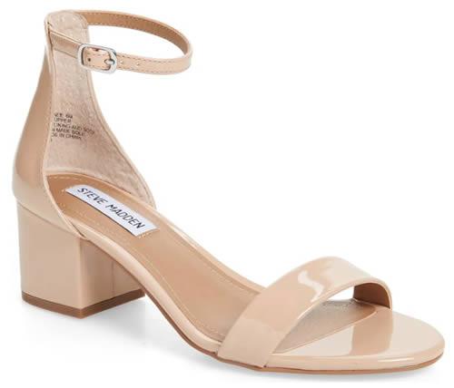 Nude sandal with block heel | 40plusstyle.com