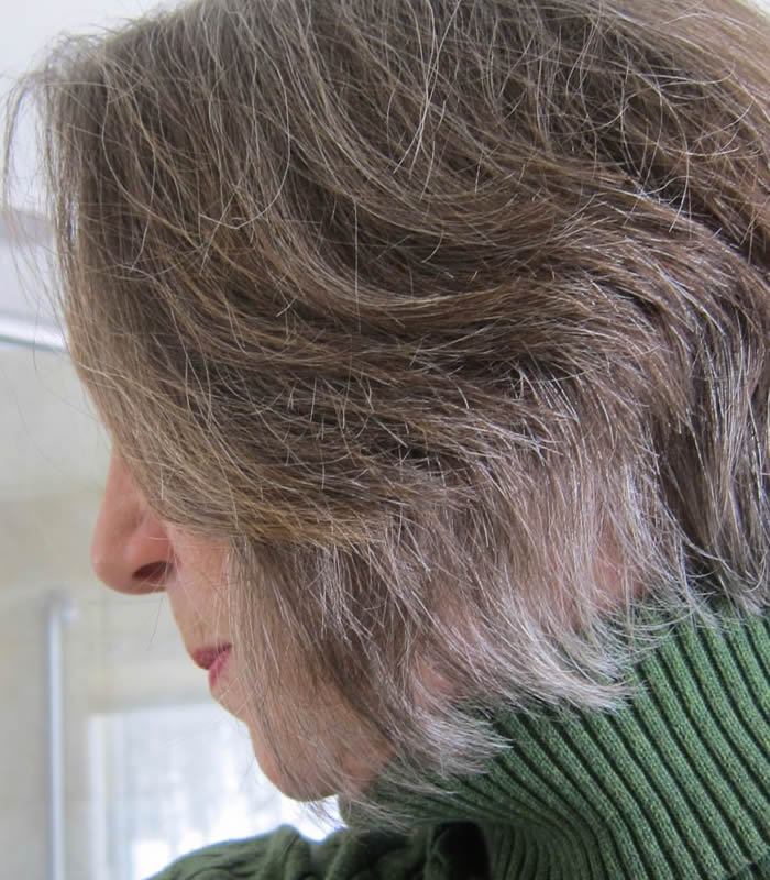Elaine's (partically gray hair). Learn how she went from colored hair to 100% natural hair | 40plusstyle.com