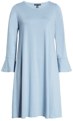 Eileen Fisher bell cuff shift dress | 40plusstyle.com