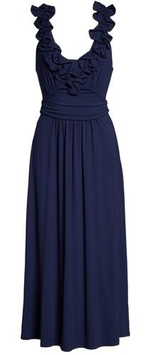ruffle plunge midi dress | 40plusstyle.com