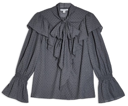 Topshop tie neck dobby blouse | 40plusstyle.com