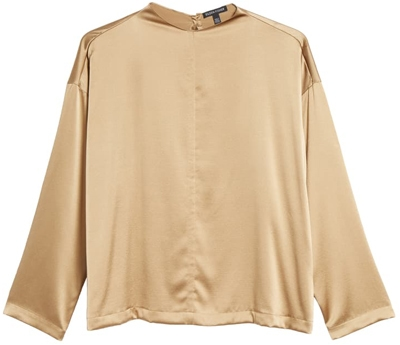 funnel neck silk top | 40plusstyle.com