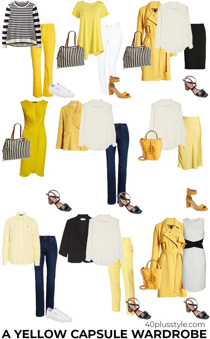 A yellow capsule wardrobe featuring black and white | 40plusstyle.com