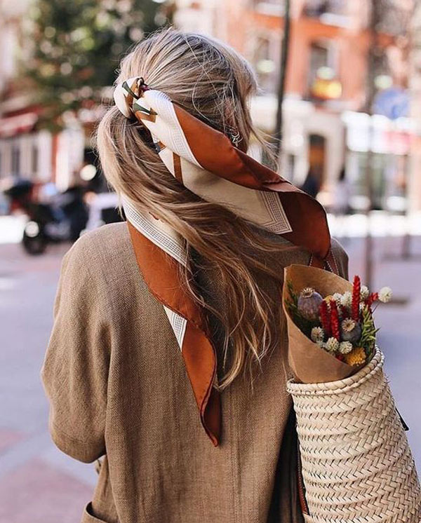Tie scarf around ponytail if you have long hair | 40plusstyle.com