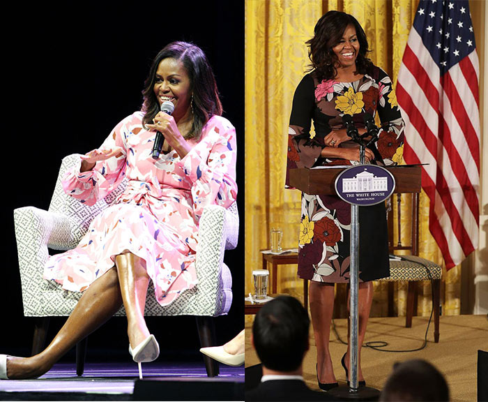 Michelle Obama wearing floral patterned dresses | 40plusstyle.com