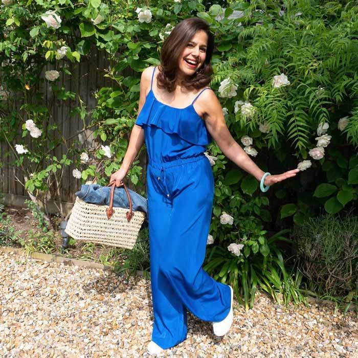 blue tie-waist jumpsuit | 40plusstyle.com
