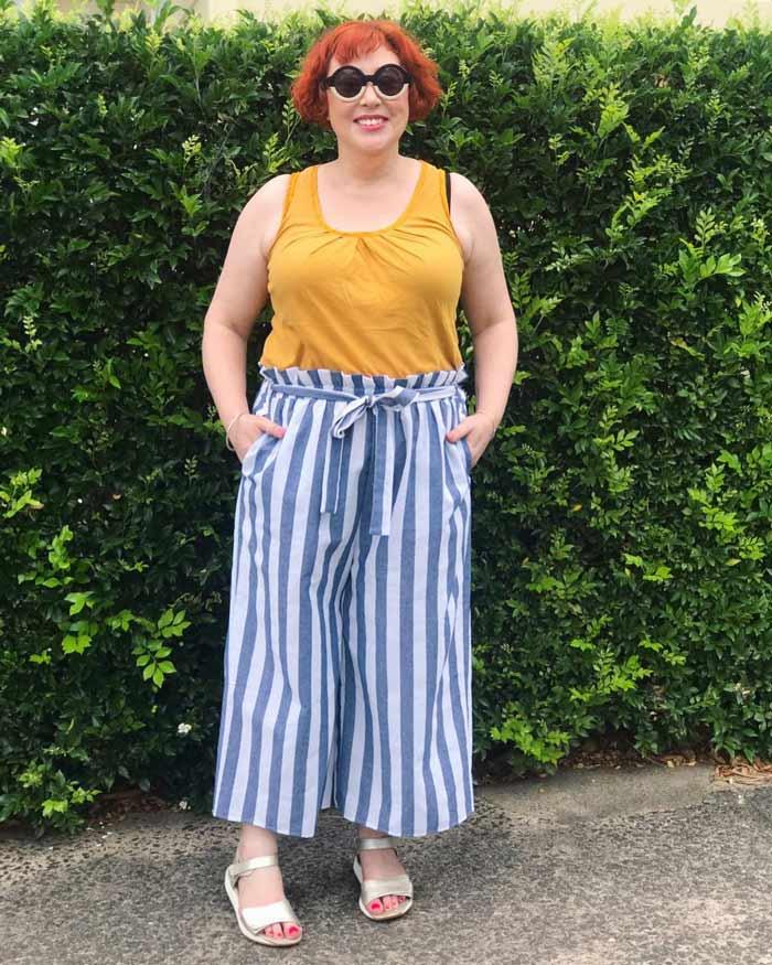 stripe tie-waist patterned pants | 40plusstyle.com