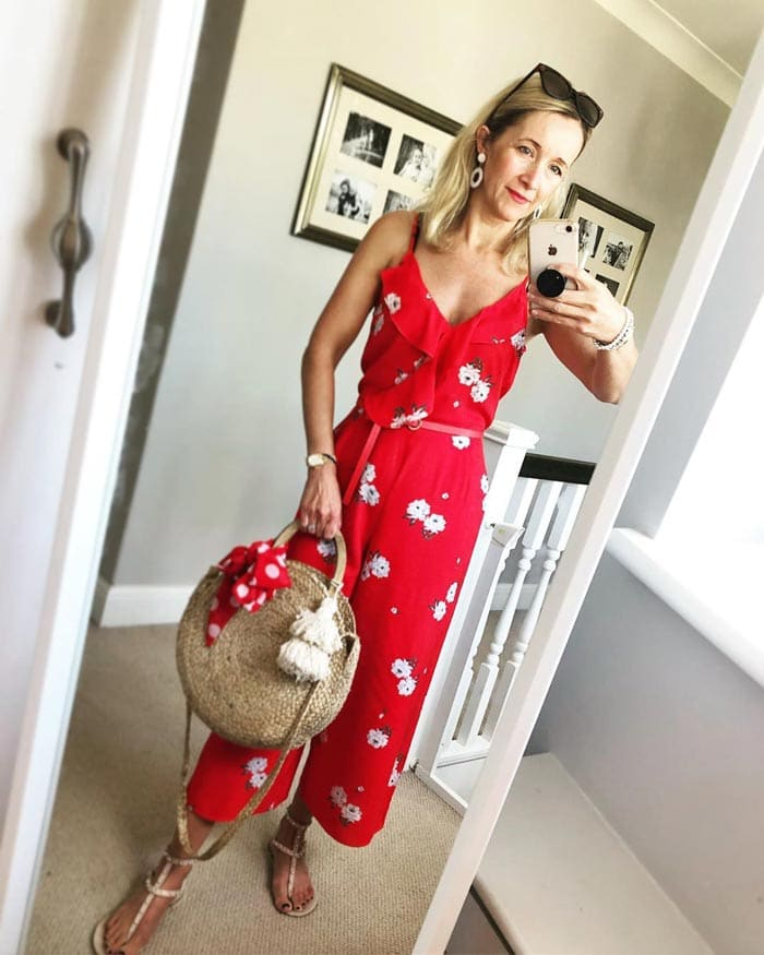 floral sleeveless jumpsuit | 40plusstyle.com