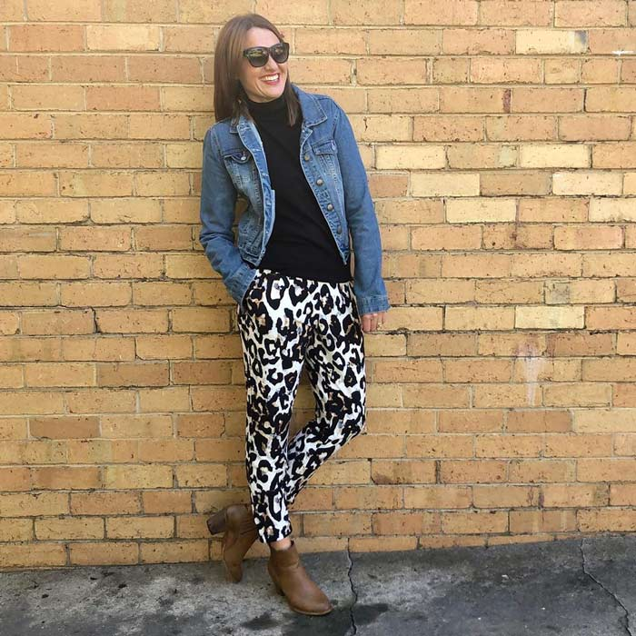how to wear leopard print pants | 40plusstyle.com
