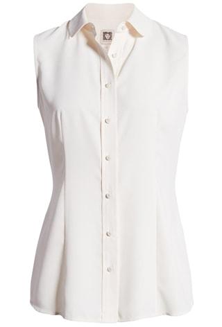 White sleeveless blouse   40plusstyle.com