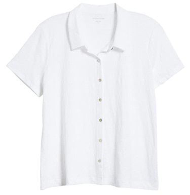 White short sleeve blouse | 40plusstyle.com