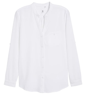 White chiffon blouse | 40plusstyle.com