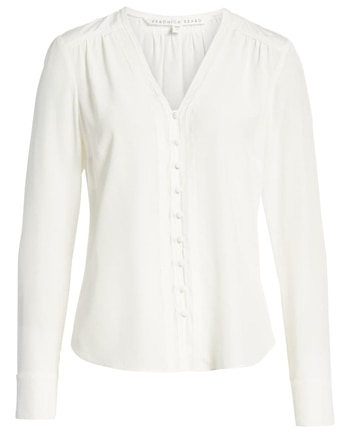 White silk blouse | 40plusstyle.com
