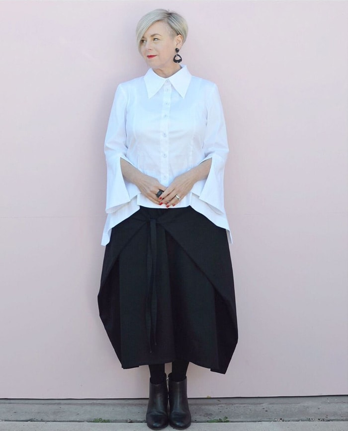 White bell sleeves blouse   40plusstyle.com