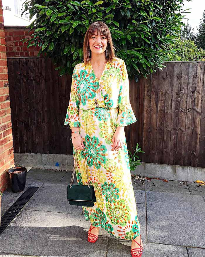 yellow pattered maxi dress |40plusstyle.com
