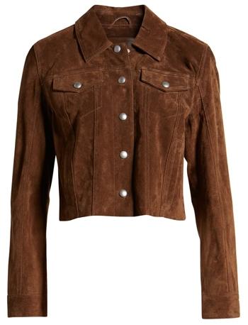 Crop suede jacket | 40plusstyle.com