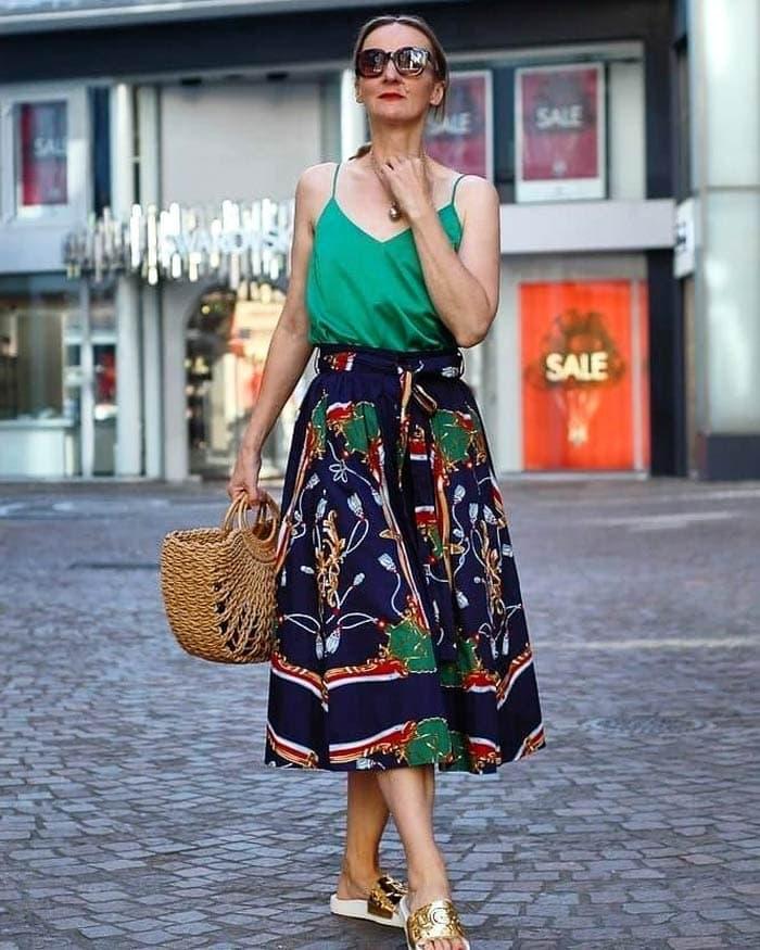printed full skirt | 40plusstyle.com