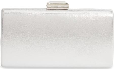 Nordstrom metallic box clutch | 40plusstyle.com