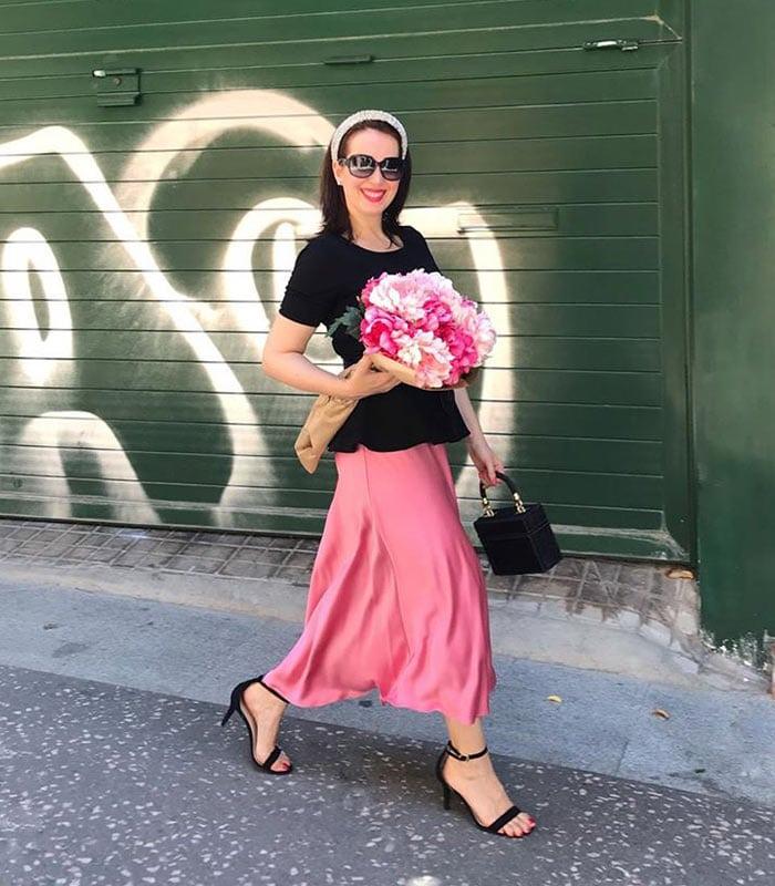 pink maxi skirt | 40plusstyle.com