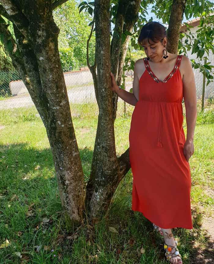 red v-neck maxi dress |40plusstyle.com