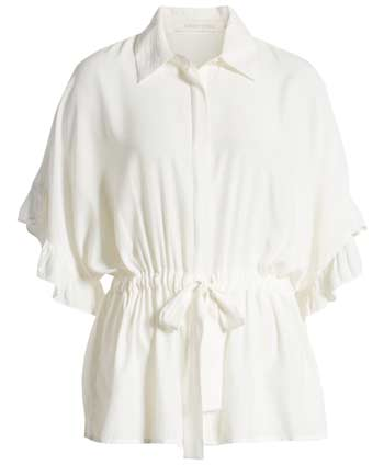 White ruffle blouse | 40plusstyle.com