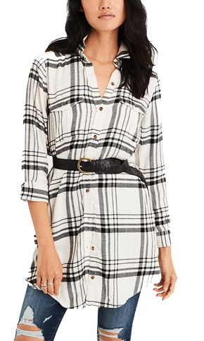 American Eagle plaid shirt dress | 40plusstyle.com