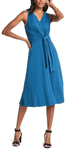 Ann Taylor tie front midi dress | 40plusstyle.com