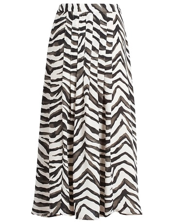 Banana Republic zebra pleated midi skirt | 40plusstyle.com
