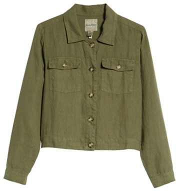 green denim jacket | 40plusstyle.com