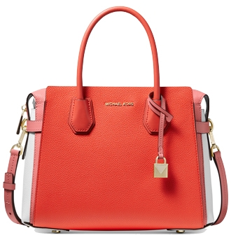 Michael Kors Mercer Belted Tricolor Pebble Leather Satchel | 40plusstyle.com