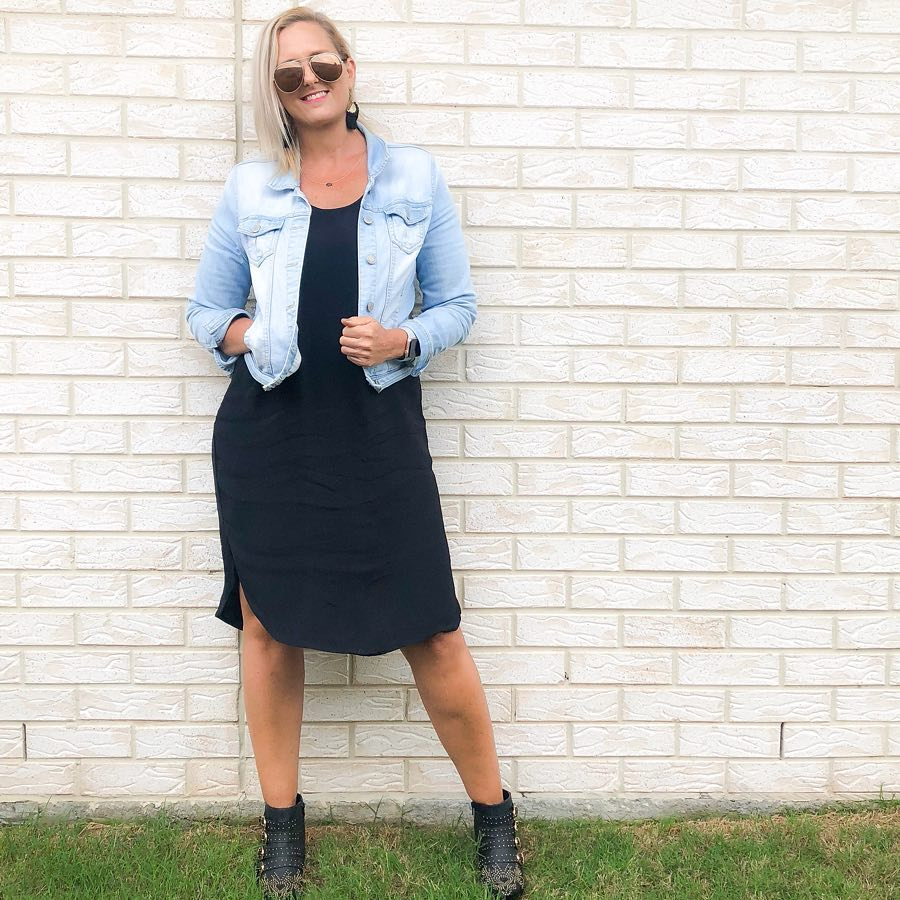 how to wear a denim jacket and dress | 40plusstyle.com