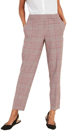 Old Navy mid-rise plaid pull-on straight pants | 40plusstyle.com