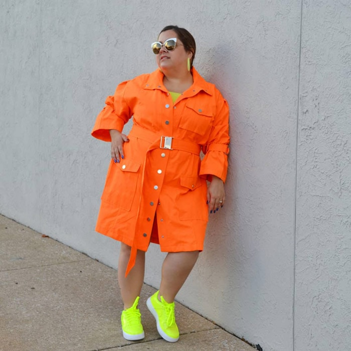 Orange dress and neon sneakers | 40plusstyle.com