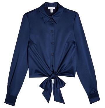 Topshop satin tie front blouse | 40plusstyle.com
